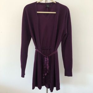 Saks 5th Ave Purple Cashmere/Silk Belted Cardigan